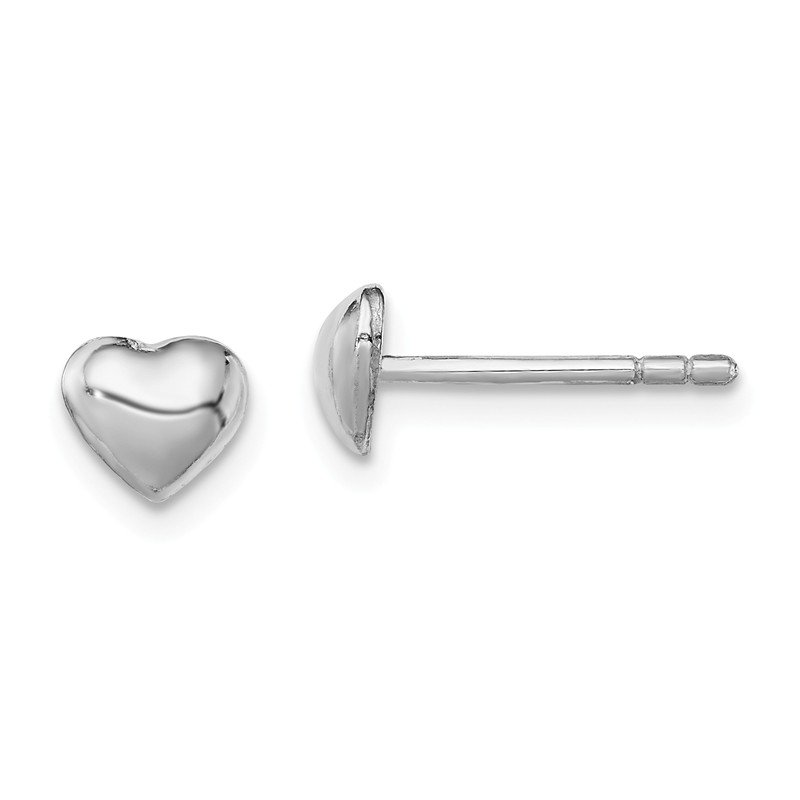 Quality Gold Sterling Silver RH Plated Child's Polished Heart Post Earrings