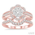 ASHI flower shape lovebright bridal diamond wedding set