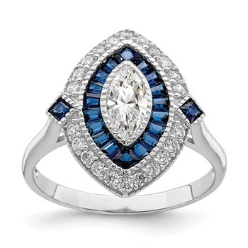 Sterling Silver Rhodium-plated CZ and Synthetic Blue Spinel Ring