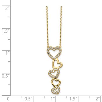 14K Polished Hearts CZ with 2IN EXT Necklace