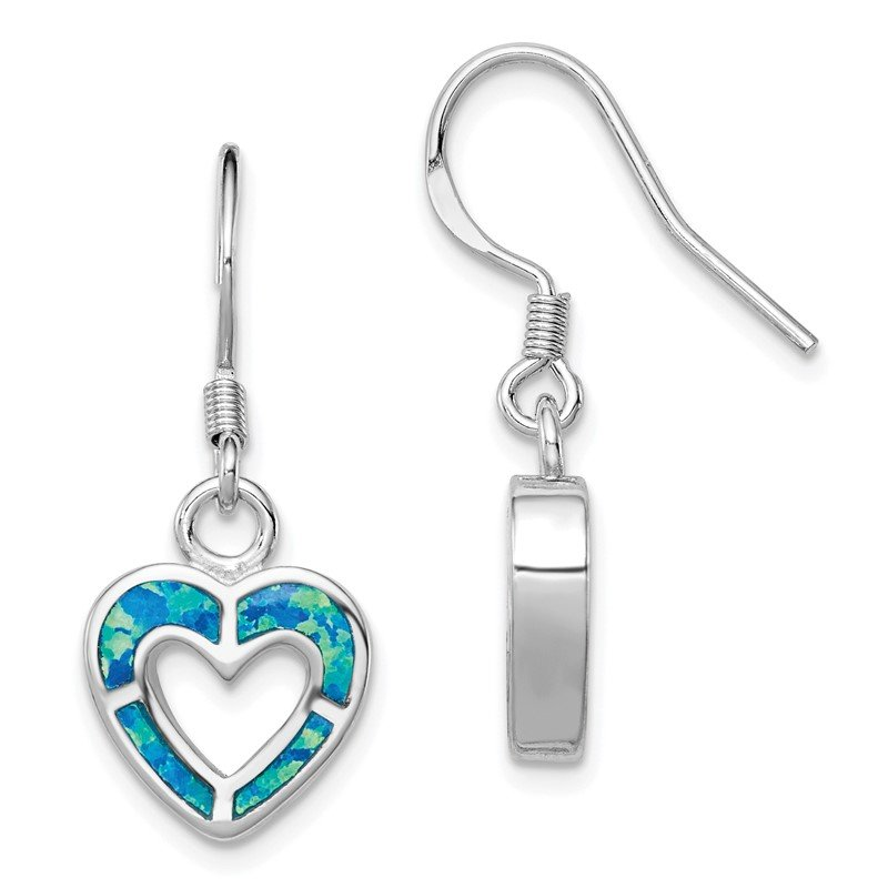 Quality Gold Sterling Silver Rhodium-plated Blue Inlay Created Opal Heart Earrings