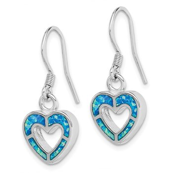 Sterling Silver Rhodium-plated Blue Inlay Created Opal Heart Earrings