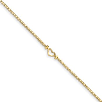 14k Polished Open-Heart 10inch Anklet