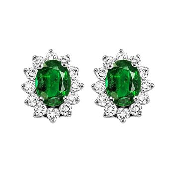 14K White Gold Color Ensembles Halo Prong Emerald Earrings 3/8CT