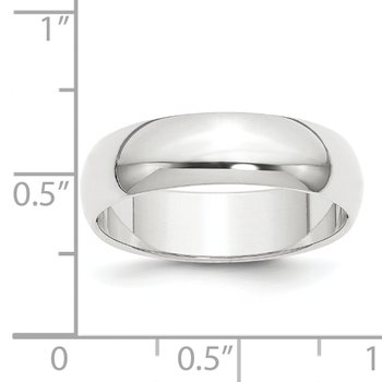 Platinum 6mm Half-Round Featherweight Band
