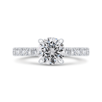18K White Gold Round Diamond Solitaire Plus Engagement Ring  (Semi-Mount)