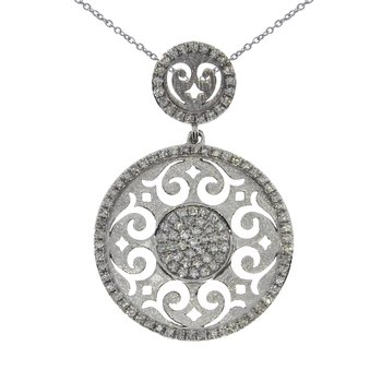 14K White Gold Brushed Round Diamond Pendant