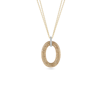 18Kt Gold Oval Pendant With Diamonds