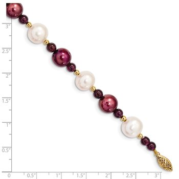 14k 10-11 White 9-10mm Cranberry Freshwater Cultured Pearl Garnet Bracelet
