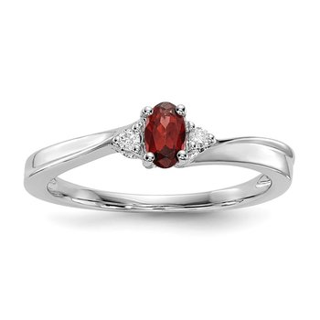 Sterling Silver Rhodium-plated Garnet Birthstone Ring
