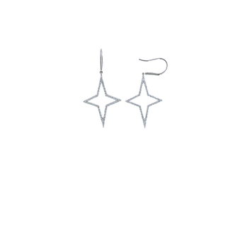 18KT WHITE GOLD DIAMONDSTAR DROP EARRINGS