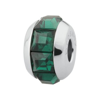 316L stainless steel and green emerald Swarovski® Elements crystals.