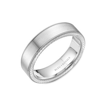 White Gold Milgrain Wedding Band