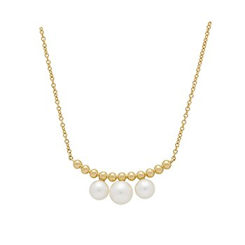 "Honora 14KY 4.5-6mm White Round Freshwater Cultured Pearls Single Pebble Bar 18"" Necklace"