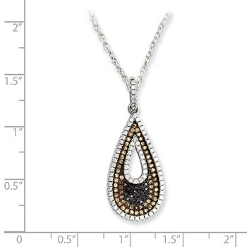 Sterling Silver Brilliant Embers Rhodium-plated CZ Teardrop Necklace