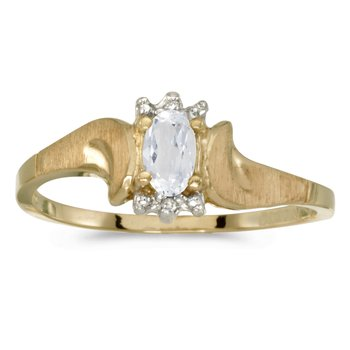 14k Yellow Gold Oval White Topaz And Diamond Satin Finish Ring