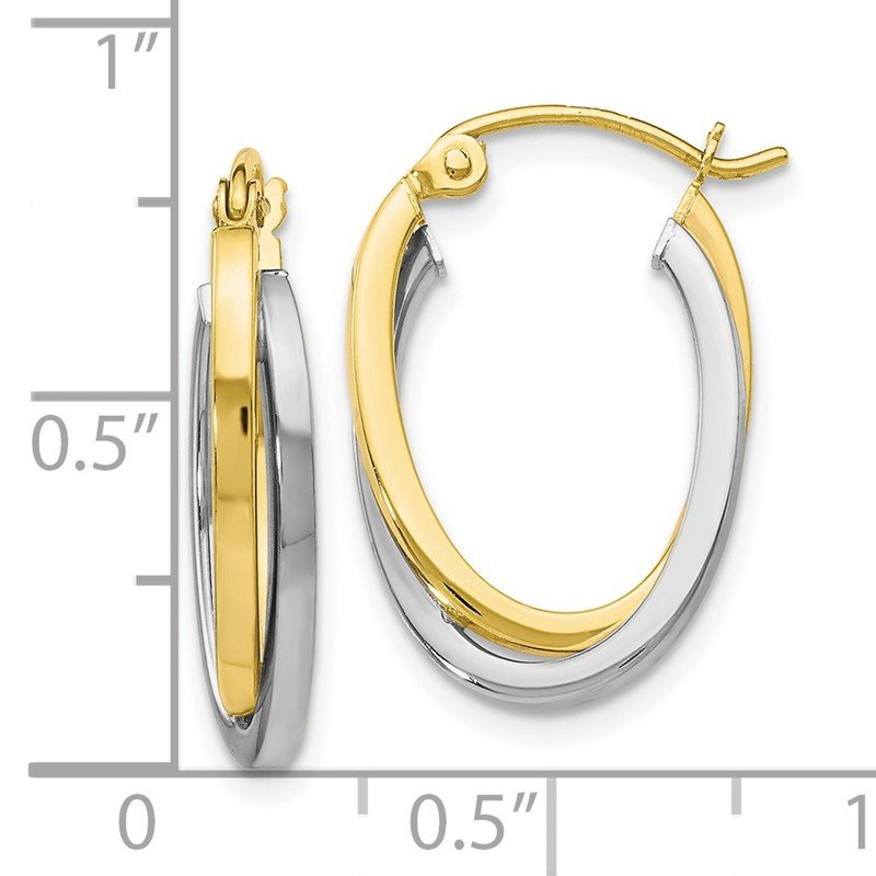 Leslie's Leslie's 10K Two-Tone Polished Hinged Hoop Earrings