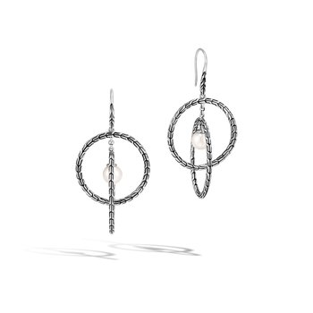 Classic Chain Drop Earring in Silver with 7MM Pearl