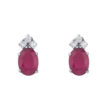 14k White Gold Ruby And Diamond Oval Earrings