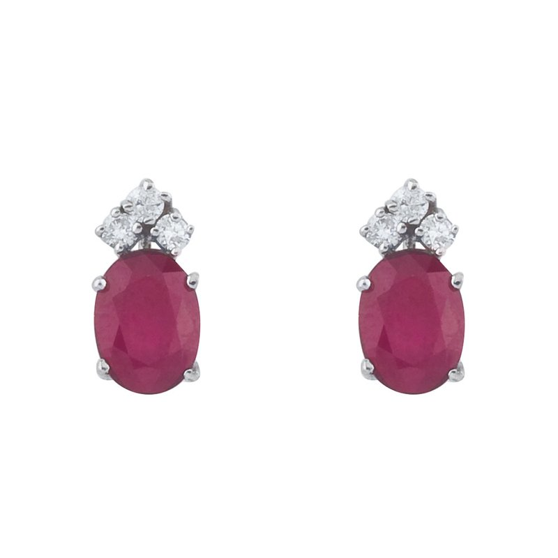 Color Merchants 14k White Gold Ruby And Diamond Oval Earrings