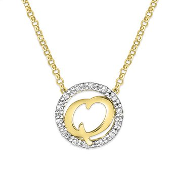 "Gold and Diamond Mini Halo ""Q"" Initial Necklace"
