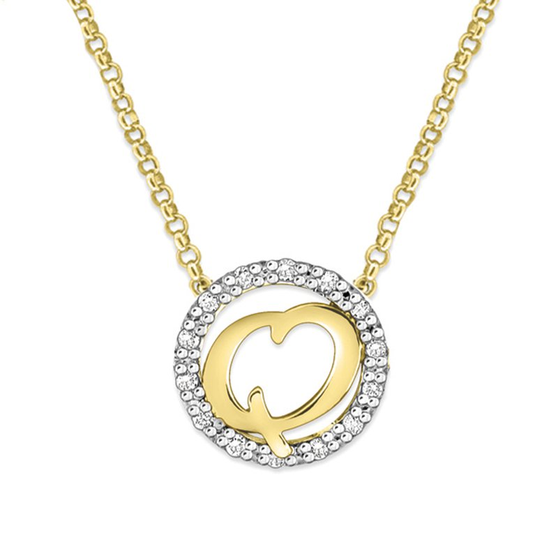 "KC Designs Gold and Diamond Mini Halo ""Q"" Initial Necklace"