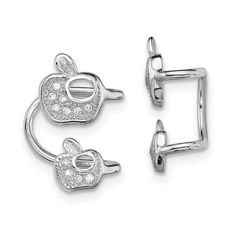 Sterling Silver Rhodium-plated CZ Double Apple Left Cuff Earring