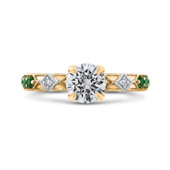 14K Two-Tone Gold Round Diamond and Green Tsavorite Engagement Ring (Semi-Mount)