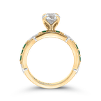 Carizza 14K Two-Tone Gold Round Diamond and Green Tsavorite Engagement Ring (Semi-Mount)