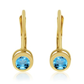 14k Yellow Gold 4mm BlueTopaz Bezel Leverback Earrings