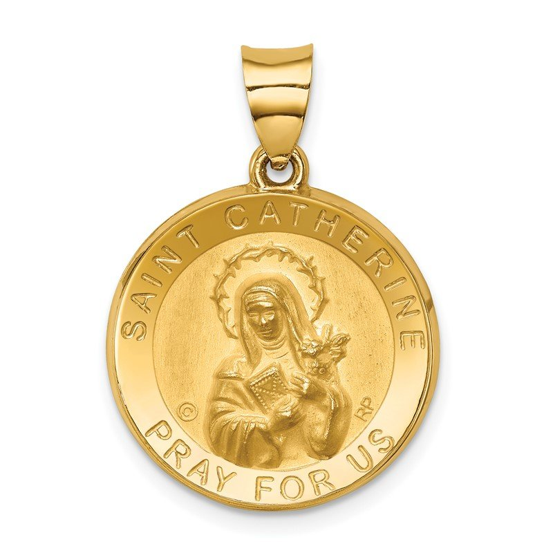 Quality Gold 14K Polished/Satin St. Catherine Hollow Medal Pendant