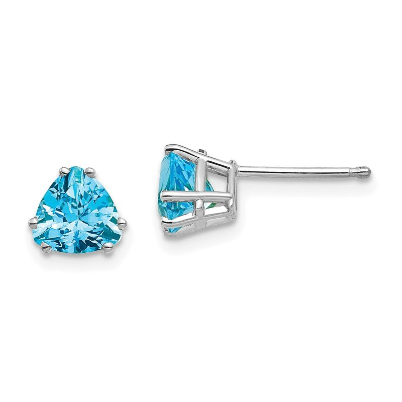 Quality Gold 14k White Gold 6mm Trillion Blue Topaz Earrings