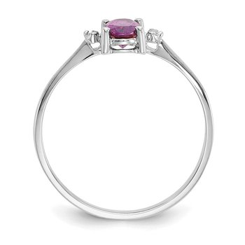 14k White Gold Diamond & Rhodolite Garnet Birthstone Ring