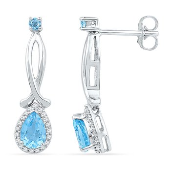 10kt White Gold Womens Pear Lab-Created Blue Topaz Diamond Dangle Earrings 1.00 Cttw