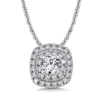 Diamond Double Cushion Halo Pendant in 14K White Gold (1/2ct. tw.)