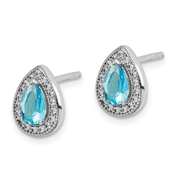 Sterling Silver Rhod Plated Blue and Clear CZ Post Earrings