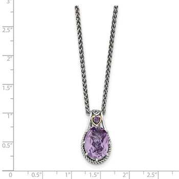 Sterling Silver w/14k Pink Quartz Necklace