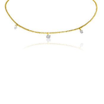 "14K Yellow Gold .30 Three-Stone Diamond Necklace with 18"" Chain"