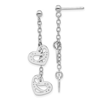 Sterling Silver Rhodium-plated Hearts Dangle Post Earring