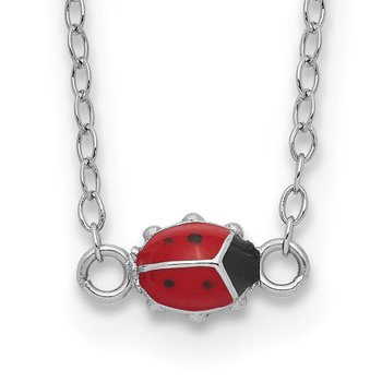 Sterling Silver Enameled Lady Bug w/2in Extension Necklace