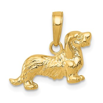 14k Long-Haired Dachshund Dog Pendant