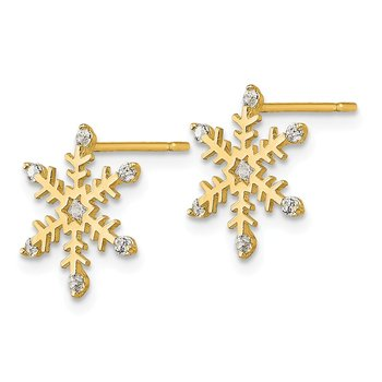 14k Madi K CZ Children's Snowflake Post Earrings