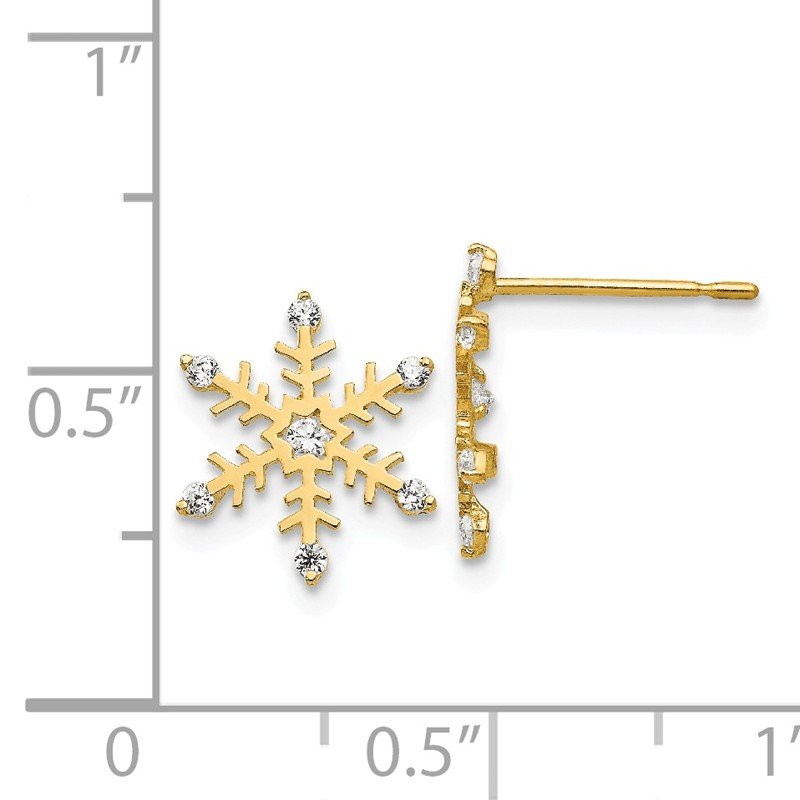 Quality Gold 14k Madi K CZ Children's Snowflake Post Earrings