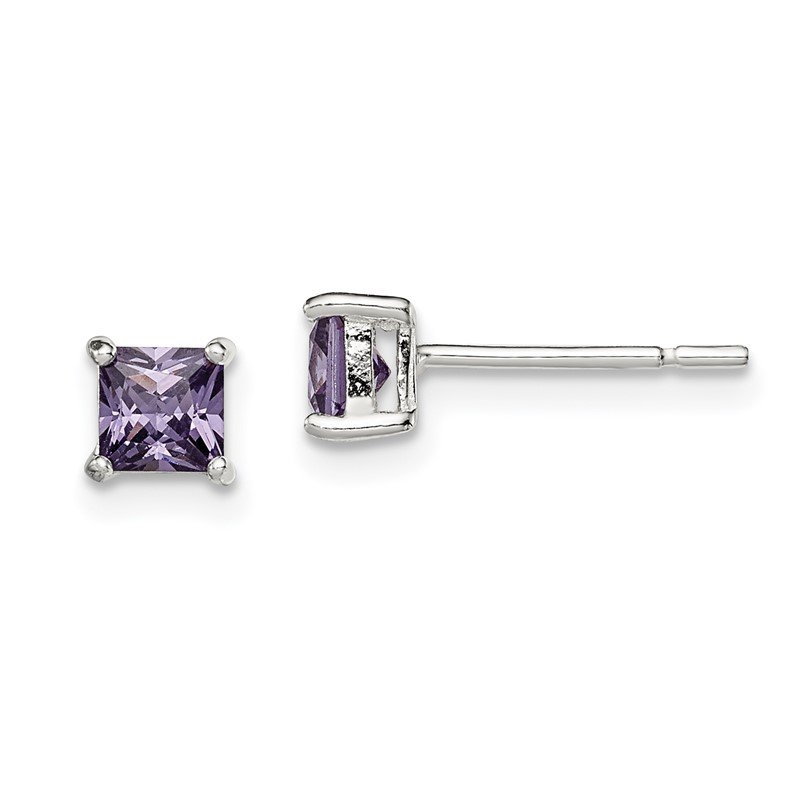 Quality Gold Sterling Silver Polished Purple CZ Post Earrings