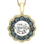 Necker's Signature Collection 14K Blue & White Diamond Rhythm Of Love Pendant 3/8 ctw