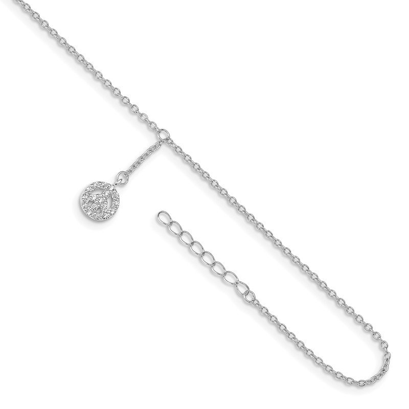Quality Gold Sterling Silver Rhodium-plated 9in Plus 1in Ext CZ Peace Sign Anklet