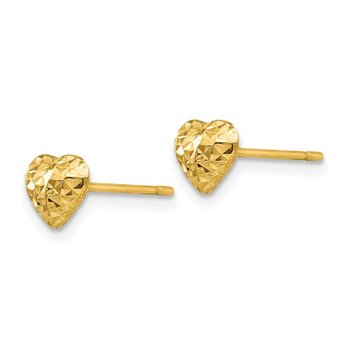 14K Diamond Cut Puffed Heart Post Stud Earrings