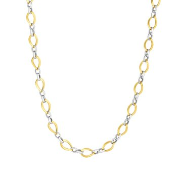 14K Two-tone Gold Polished Twisted Oval Link Chain