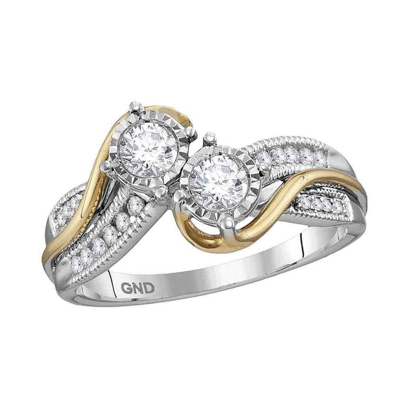 Kingdom Treasures 14kt White Two-tone Gold Womens Round Diamond 2-stone Bridal Wedding Engagement Ring 1/2 Cttw (Certified)