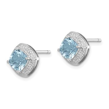 Sterling Silver Rhodium Light Swiss Blue Topaz & Diamond Post Earrings